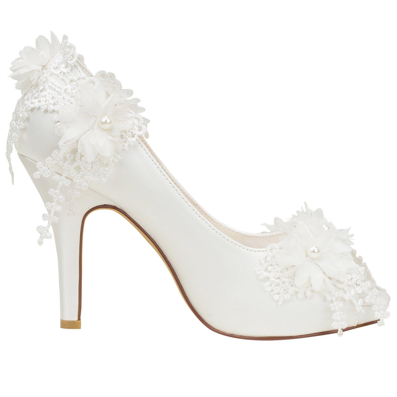 - Best 4U® Chaussures De Mariage pour Femmes Satin Printemps Eté 10CM talons hauts 1.5 Plate-Forme Bride Demoiselle d'honneur Peep-Toe Fleur Applique Perle Rubber Sole Sandales De Soirée EU35