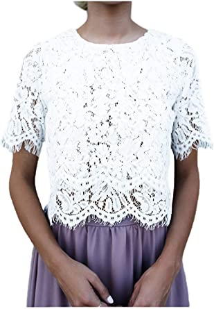 Mujer Crop Tops Negro Verano Cortos Elegantes Hipster Blusa ...