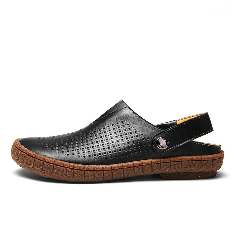 Amazon.com | CHAOHUYIFANG Men Outdoor Split Leather Sandals Handmade Hollow Shoes Summer Soft Bottom Beach Sandalias | Sandals
