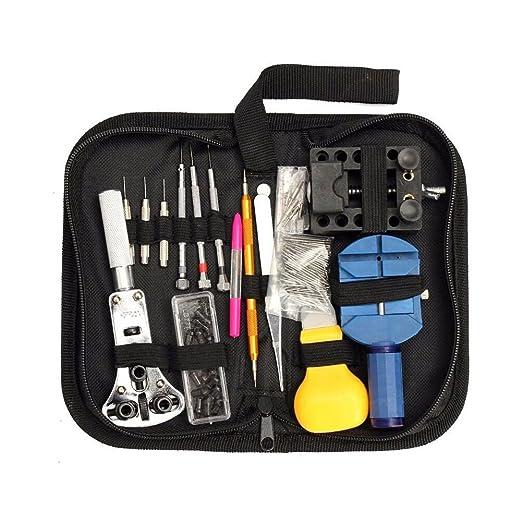 SODIAL Conjunto de reparacion de reloj, 144 piezas Conjunto de herramientas para reloj Herramienta de barra dede pin de enlace de correa de reloj con caja ...