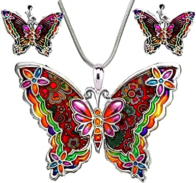 Set necklace with earrings colorful butterfly
