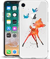 Girlscases® | iPhone XR Hülle | Im REH/Rehkitz Motiv Muster | in bunt | Fashion Case Transparente Schutzhülle aus Silikon