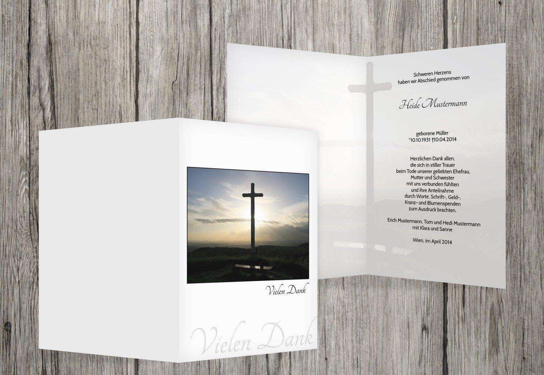 Tarjetas de agradecimiento luto Cruz, Weiszlig;, 80 Karten