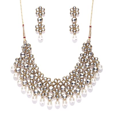 9646c0e9b Buy Zaveri Pearls Jewellery Set for Women (White)(ZPFK4300) Online at Low  Prices in India | Amazon Jewellery Store - Amazon.in