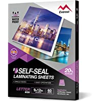 Everest Self Adhesive Laminating Sheets, Single Sided, Waterproof, Removable Adhesive Within 24 Hours, 9 x 12 Inches, 60…