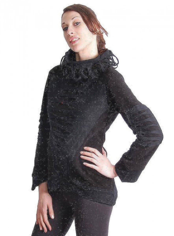 Elfen Fleece Pullover mit Rollkragen in Schwarz
