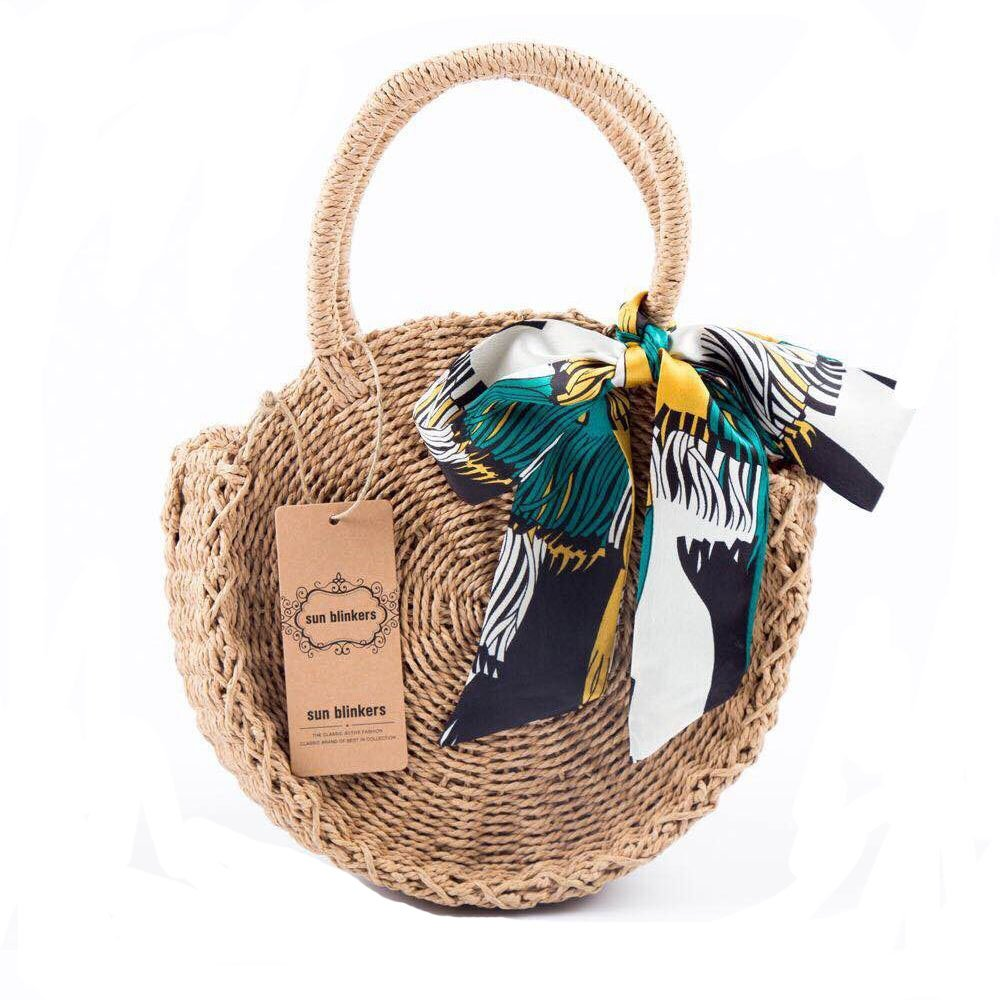 Straw Handbags for Women Beach Large Shoulder Summer Top Handle Crossbody Round Purse Ladies Woven Rattan Fashion Crochet Khaki without Buckle style 2