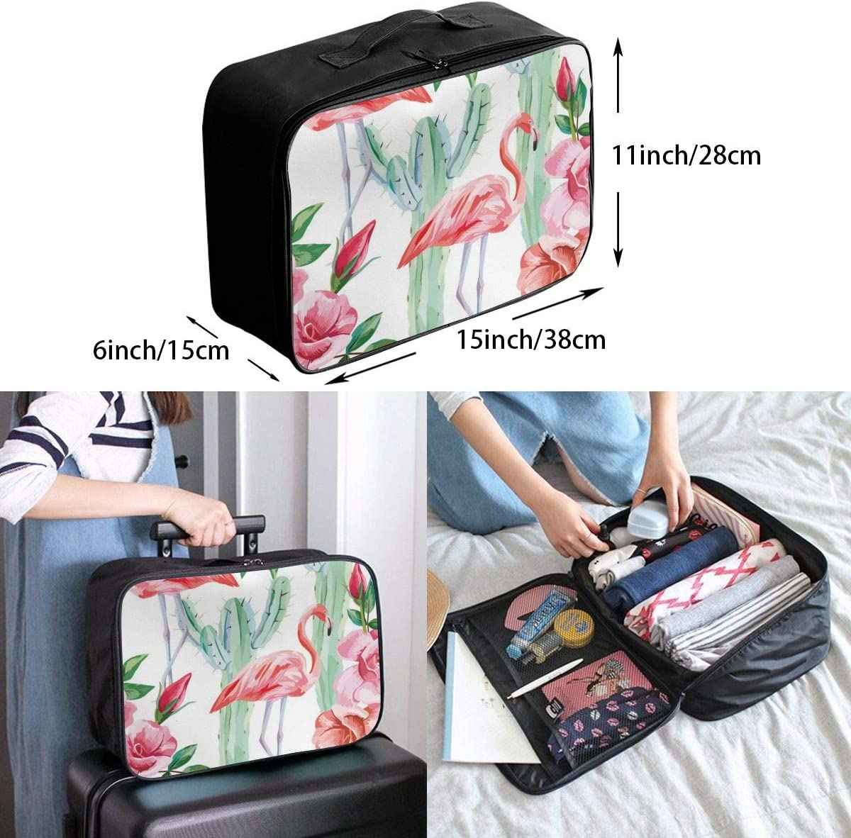 Yunshm Cartoon Pattern Cactus Potted Personalized Trolley Handbag Waterproof Unisex Large Capacity For Business Travel Storage