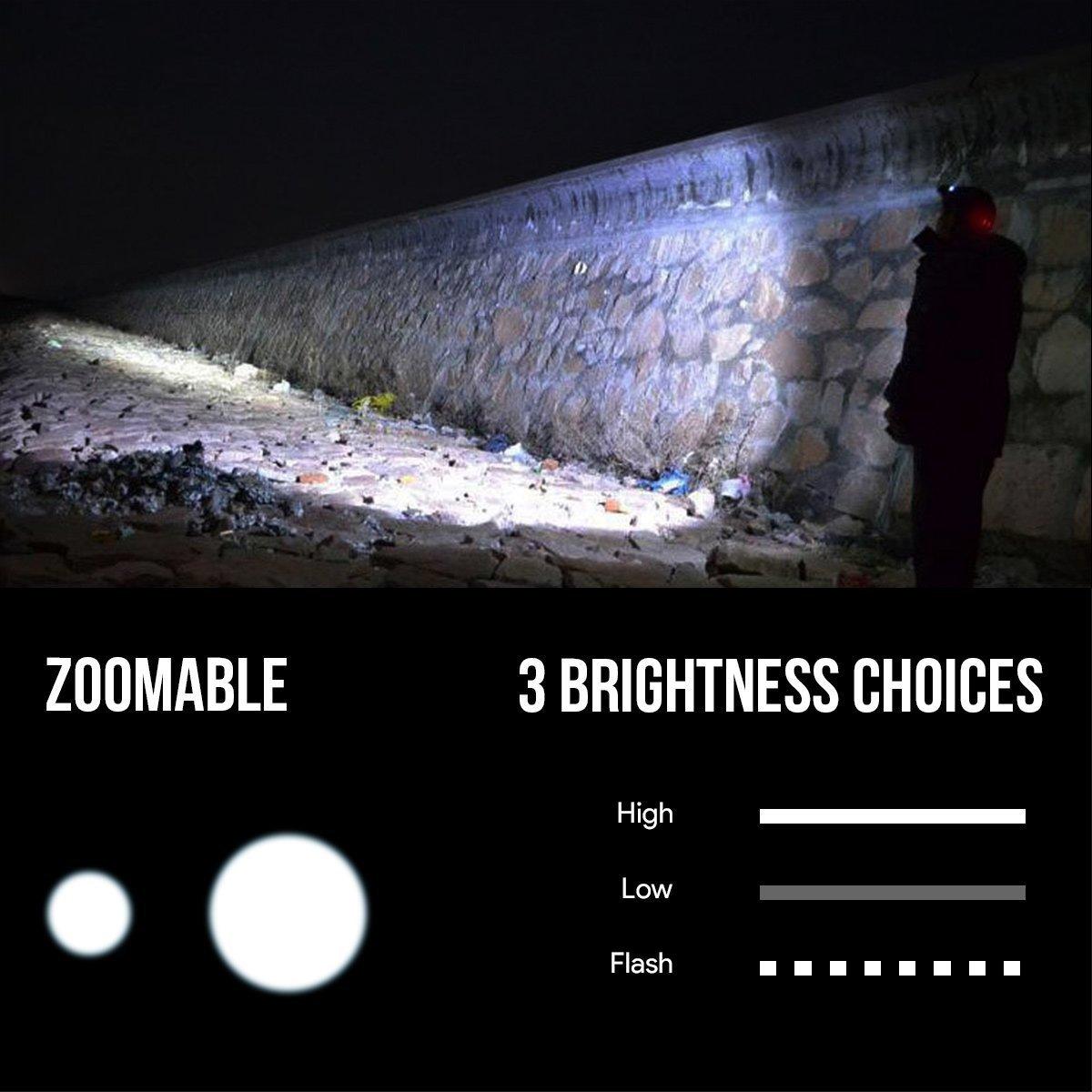 Superhelle LED Kopflampe Perfekt f/ür Joggen Laufen Campen LE Stirnlampe USB wiederaufladbar und leicht 4 Helligkeiten Lesen
