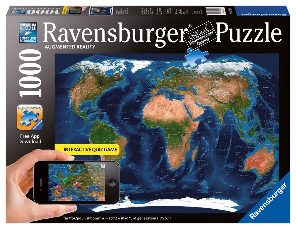 Amazon satellite world map augmented reality jigsaw puzzle amazon satellite world map augmented reality jigsaw puzzle 1000 piece toys games gumiabroncs Choice Image