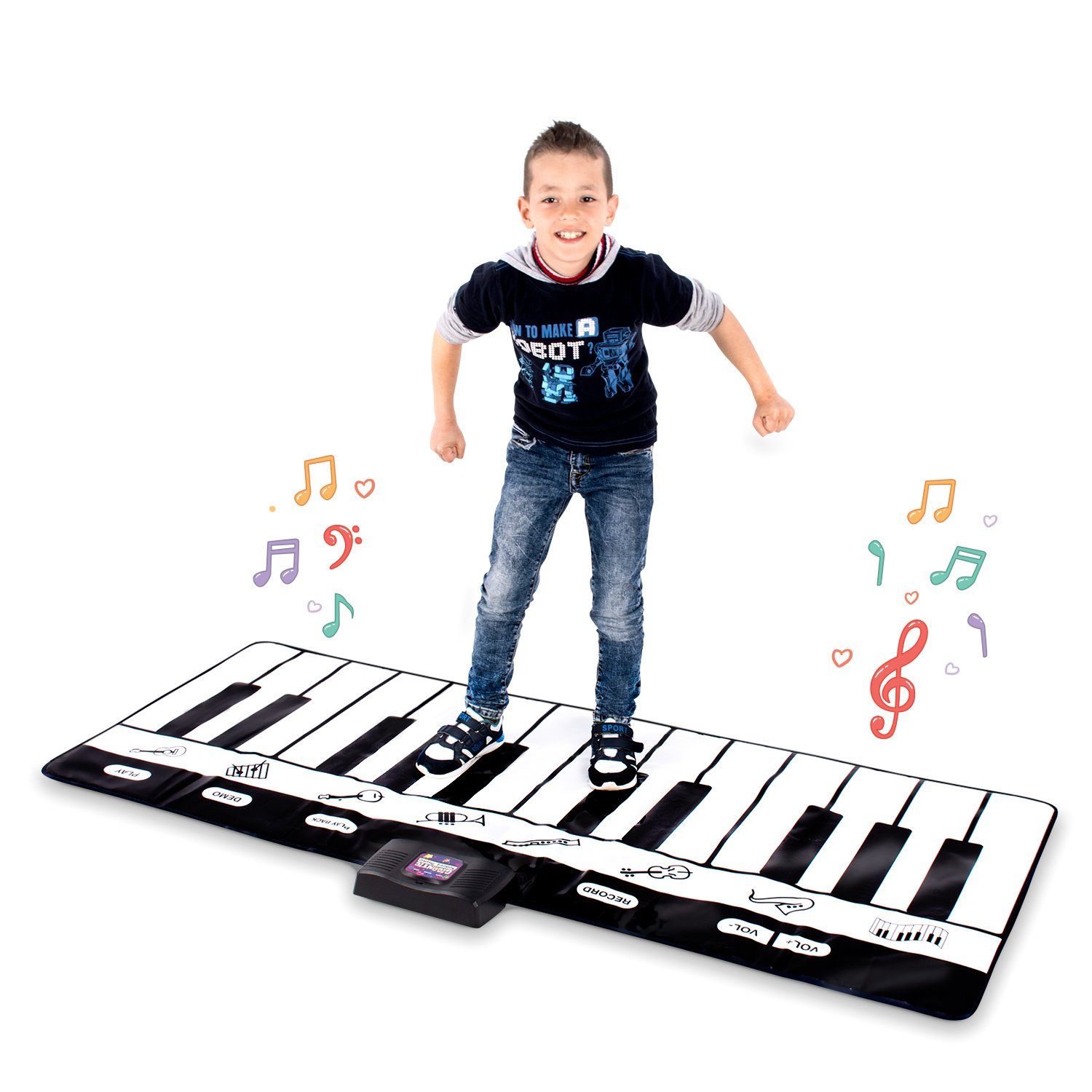 Abco Tech Giant Musical Piano Play Mat – Jumbo Sized Floor Keyboard Piano Activity Mat with Play, Record, Playback & Demo Modes – 8 Different Musical Instruments Sound Options – 24 Keys