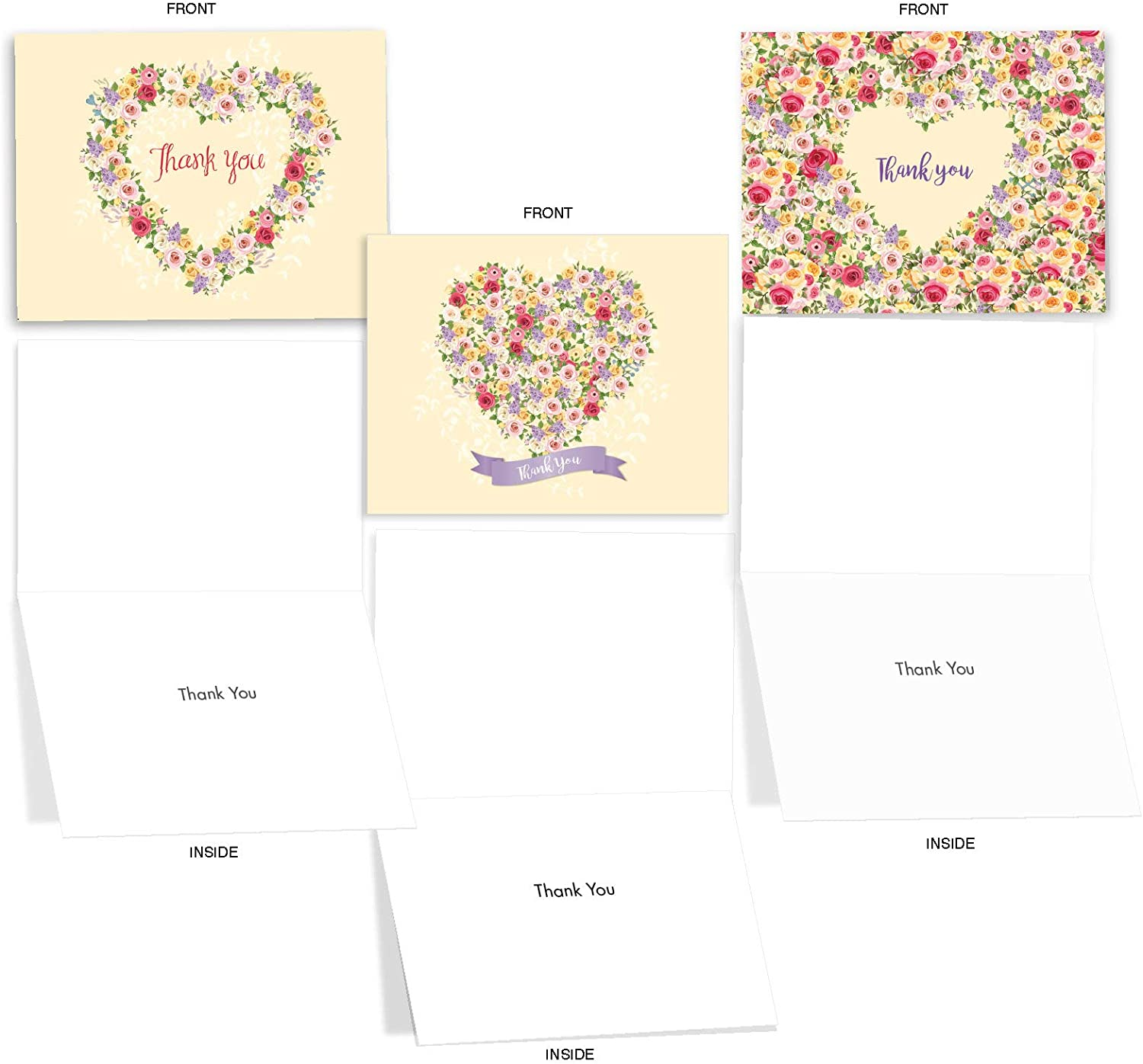 Heartfelt Notes Yoga Studio,Yoga Instructor Kindness Notes Gracious Note Cards Thank You Flat Card Gratitude Cards Heart with Flowers