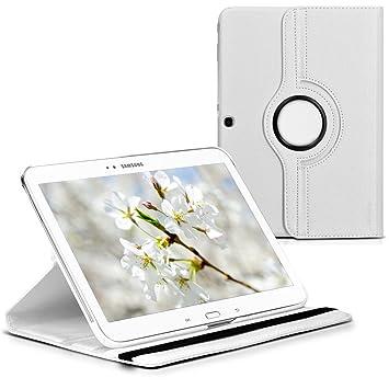kwmobile Funda compatible con Samsung Galaxy Tab 3 10.1 P5200/P5210 - Carcasa de cuero sintético para tablet en blanco