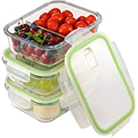3-Pack Aibeide 2 Compartment Rectangular Glass Meal Prep Containers