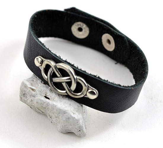 d47d19e2ed2ae Amazon.com: Silver Infinity Bracelet Men Black Leather Bracelet ...