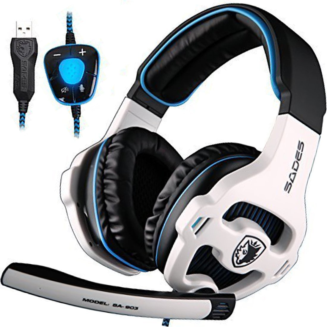 New Updated SADES Spirit Wolf 7.1 Surround Stereo Sound USB Computer Gaming Headset with Microphone,Over-The-Ear Noise Isolating,Breathing LED Light for PC Gamers Black White