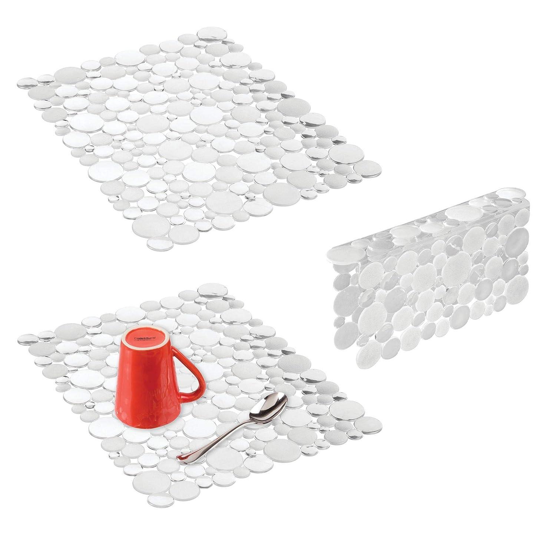mDesign Set da 3 Tappetini per lavello cucina – Tre accessori cucina anti-graffio per doppio lavandino – Tappetino lavandino e protezione per divisorio – trasparente MetroDecor