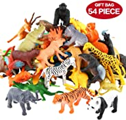 Animals Figure,54 Piece Mini Jungle Animals Toys Set,ValeforToy Realistic Wild Vinyl Plastic Animal Learning Party Favors Toy
