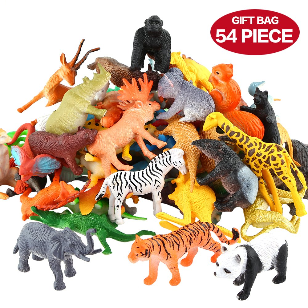 Animals Figure,54 Piece Mini Jungle Animals Toys Set,ValeforToy Realistic Wild Vinyl Plastic Animal Learning Party Favors Toys For Boys Girls Kids Toddlers Forest Small Animals Playset Cupcake Topper