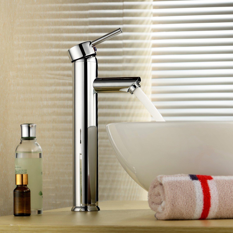 InChant Sola manija para lavamanos de baño contemporáneo de la vanidad del fregadero del recipiente del cromo del grifo cuerpo alto cubierta del grifo de la ...
