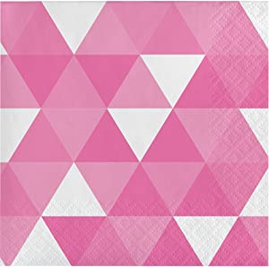 Creative Converting 319974 192 Count Beverage Paper Napkin, Fractal Candy Pink