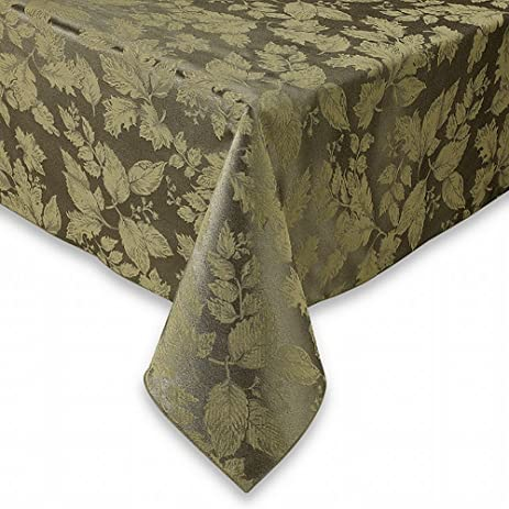 BBu0026B Autumn Harvest Green Damask Fabric Tablecloth Table Cloth 52x70 Ob