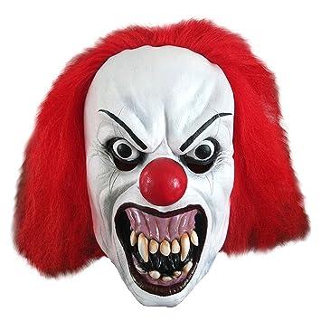 Amazon.com: snarling Terror Payaso Látex Halloween Adult ...