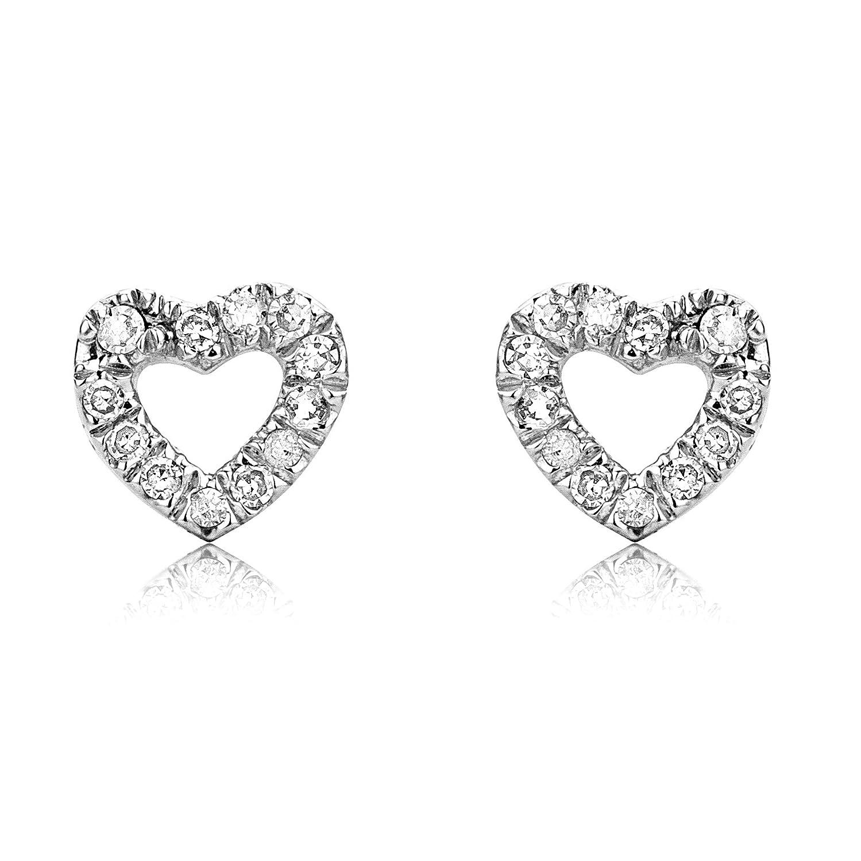 Miore Earrings Women studs White Gold 9 Kt/375 Heart Diamonds 0.07 ct buwSx23N