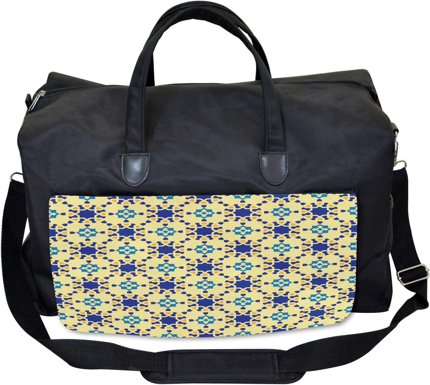 Ambesonne Antique Gym Bag Large Weekender Carry-on Moroccan Motif Folk