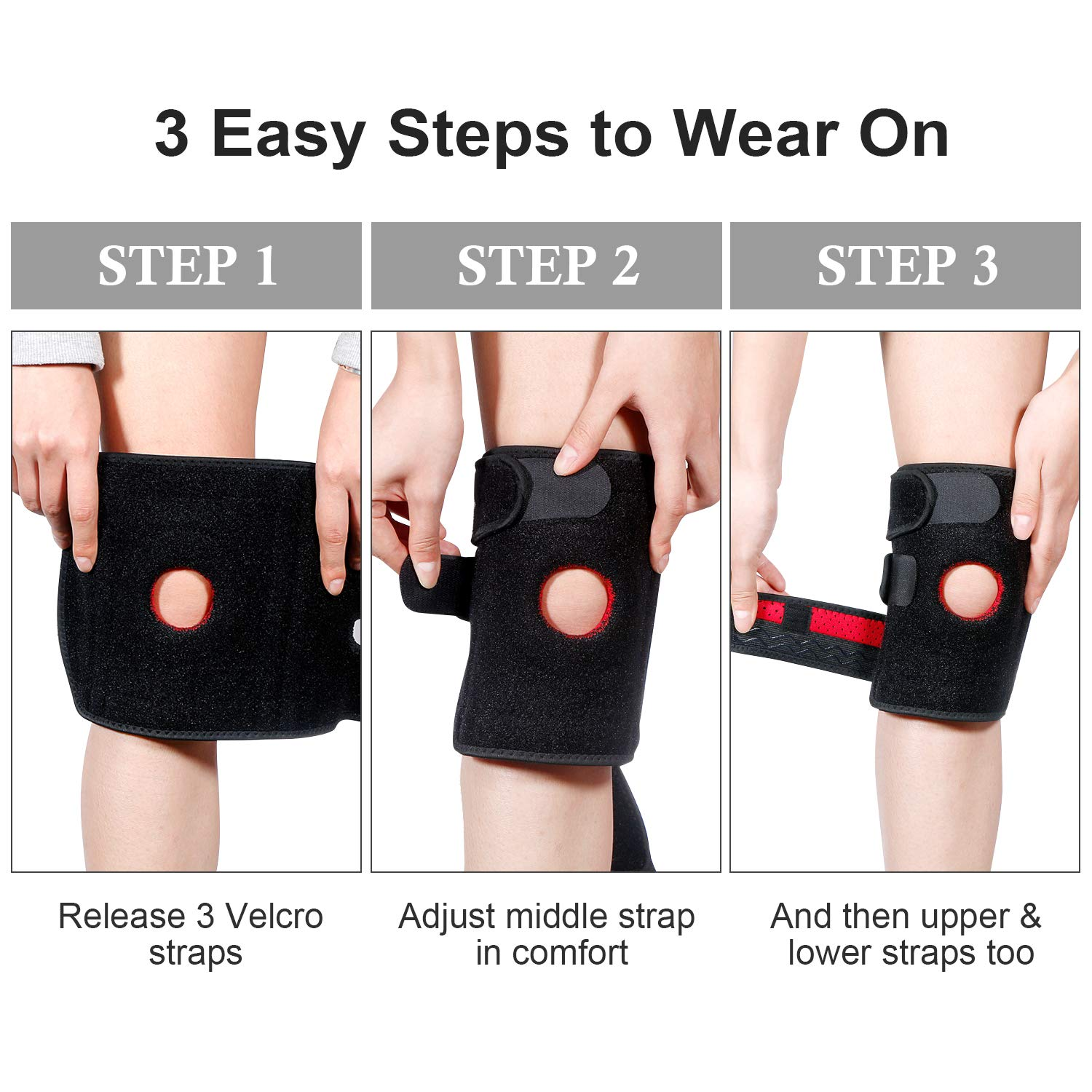Knee Brace for Women & Men, Knee Support for ACL, LCL, MCL Relief, Pain & Injury Recovery in Running Cycling Volleyball Gym Workout Sport with Adjustable Straps (2 Packs)