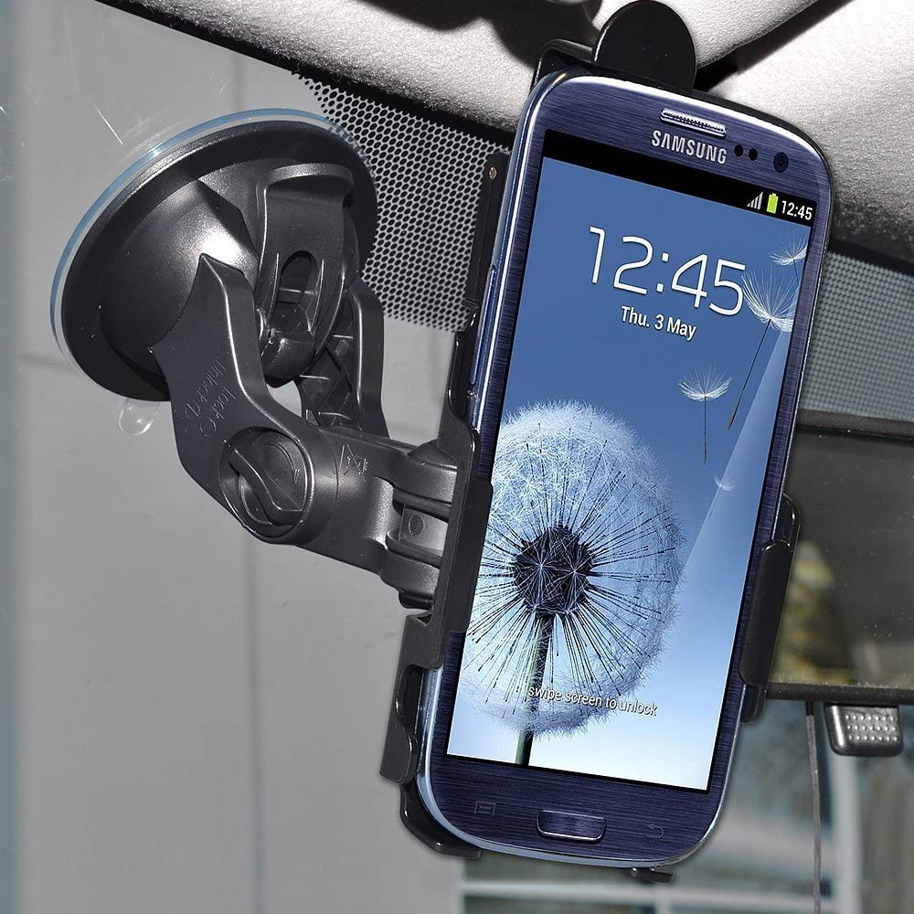 Retail Packaging Amzer AMZ95644 Suction Cup Mount Holder for Windshield Dash or Console for Samsung GALAXY S 3 III I9300 Black