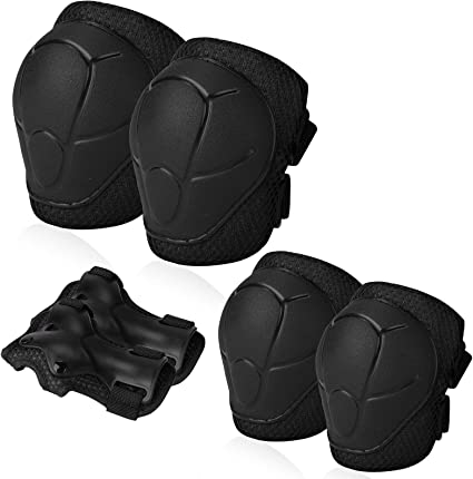 Kids//Youth Knee Pad Elbow Pads Guards Protective Gear Set for Roller Skates Cycling BMX Bike Skateboard Inline Skatings Scooter Riding Sports Black