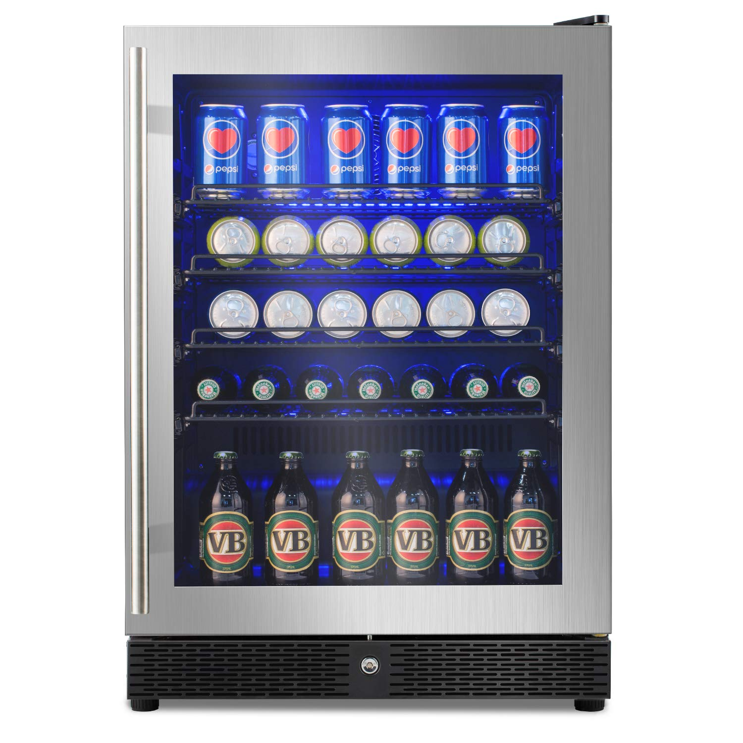 """Advanics 24"""" Frost Free Built-InBeverage Refrigerator and Fridge, 5.8 Cu Ft 149 Can Coolerwith Lock & LED Lighting, Stainless Steel Trimed and Tempered Glass Door, SC-54F"""