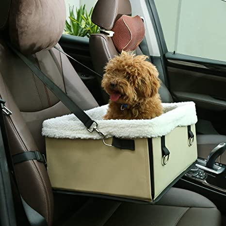 Docamor Pet Booster Seat With Cushion Inside Collapsible Dog Car For Small And