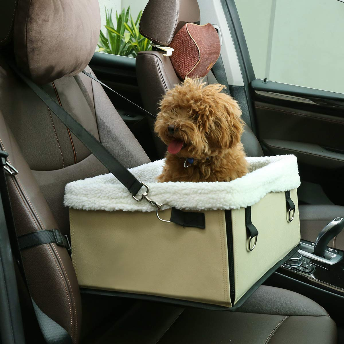 Docamor Pet Booster Seat with Cushion Inside, Collapsible Dog Booster Car Seat for Small and Medium Dogs, Puppies, and Pets