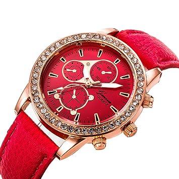 Relojes Pulsera Mujer, Xinan Relojes de Pulsera de Cuarzo de lujo de Banda analógica de Cuarzo (Rojo): Amazon.es: Deportes y aire libre