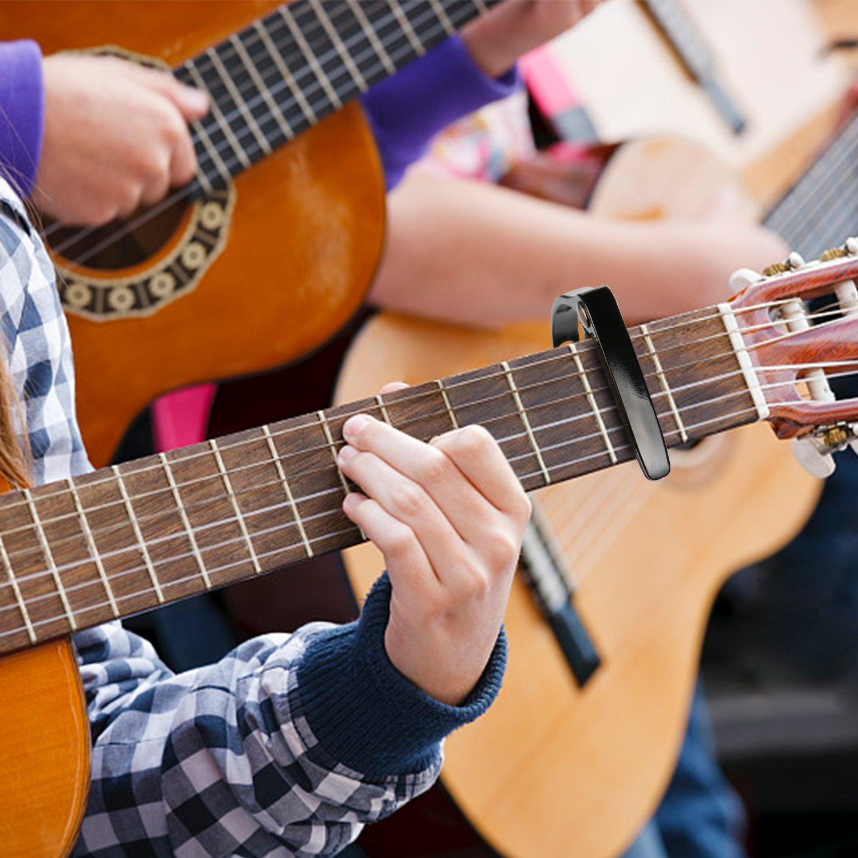 Cejillas Gitarre Uktunu Premium Kapodaster Capo für Gitarre mit 6Picks Capodaster für 6-Saiten Akustik Westerngitarre E-Gitarre Akustikgitarre Banjo Ukulele ...