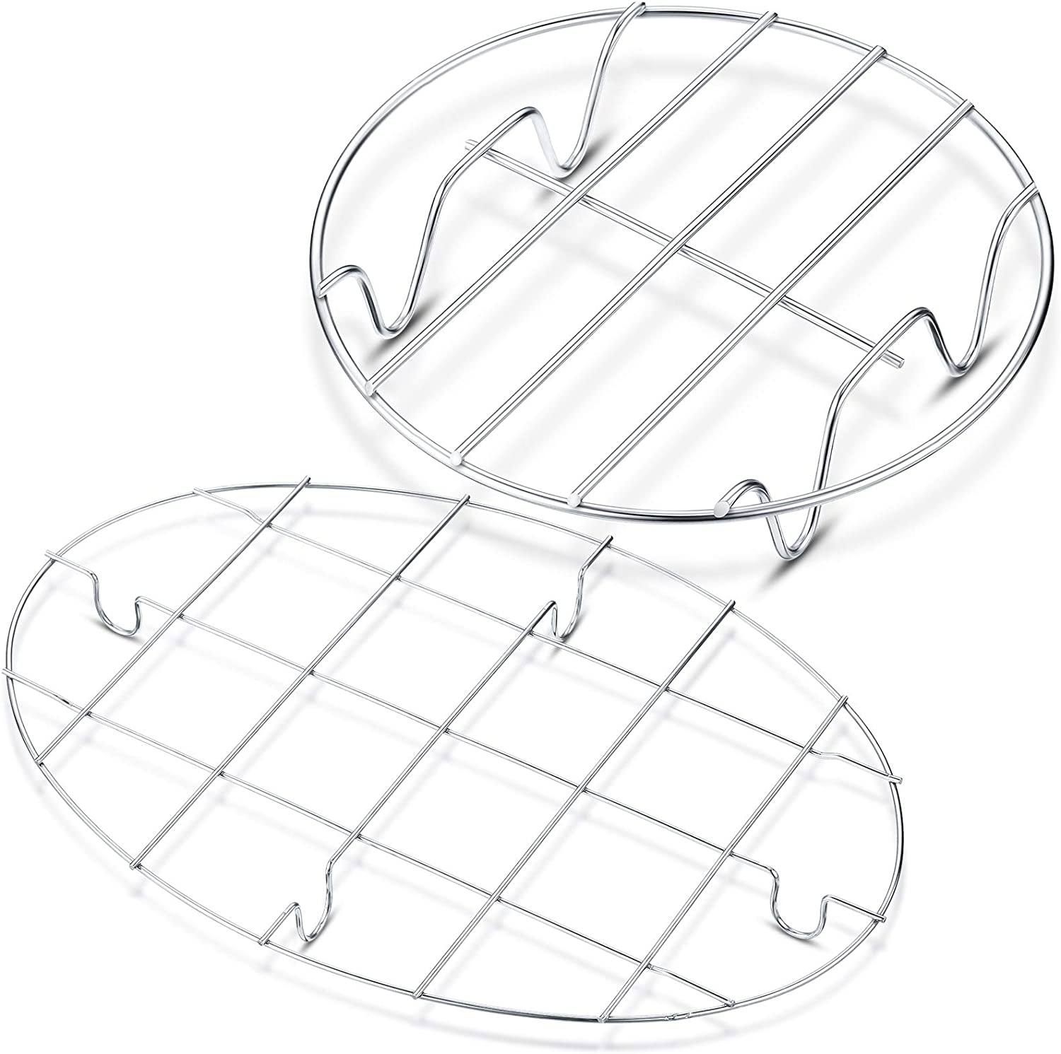 2 Pieces Small Roasting Rack Set, 9.8 x 6.7 Inch Oval Cooling Rack, 6 Inch Round Baking Rack Multifunctional 304 Stainless Steel Steamer Rack for Steaming Oven Air Fryer Pressure Cooker Dishwasher