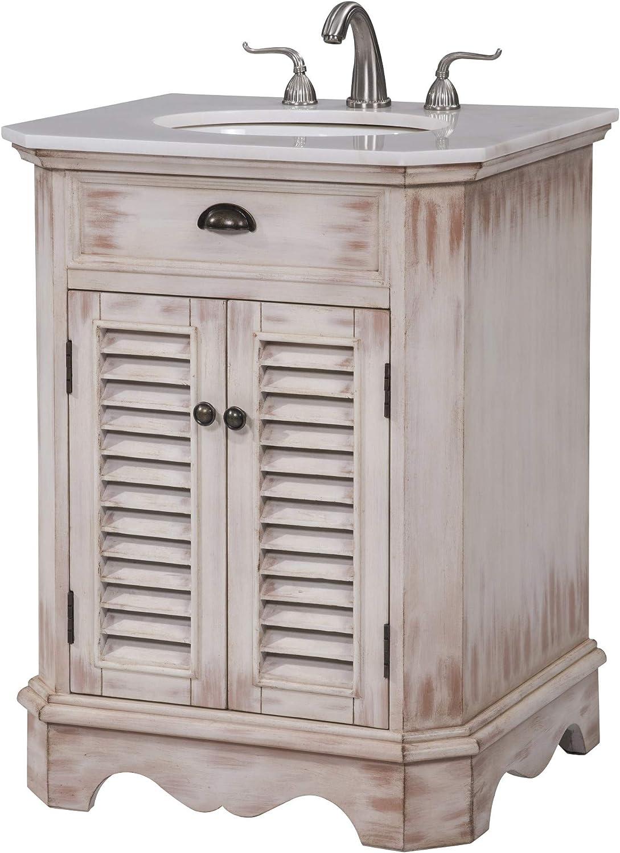 Elegant Decor 26 in. Single Bathroom Vanity Set in White Wash
