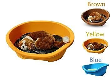 Perro gato cama plástica para verano, tienen imitación cuero mate, fácil de limpiar,