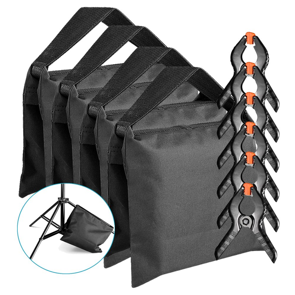 Neewer 4-pack Photographic Sandbag for Light Stands, Tripods and 6-pack 4.3 inches/11 centimeters Muslin Spring Clamps/Clips for Photo Studio Backdrops Backgrounds, Lighting Accessories 90091763