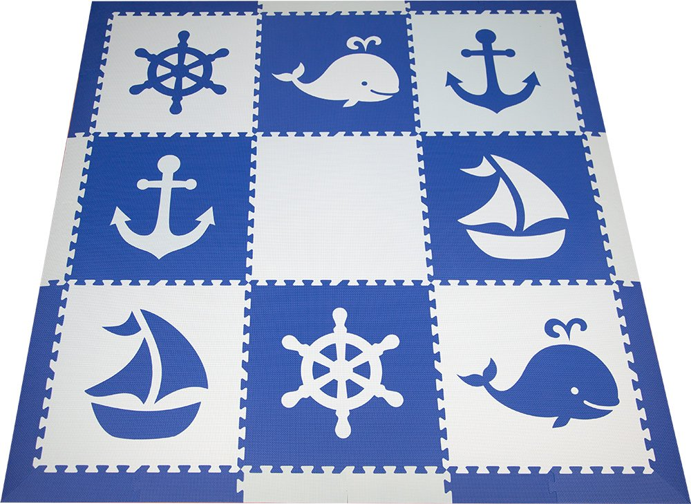 SoftTiles Interlocking Foam Playmats- Nautical Ocean Theme for Baby Nursery and Children's Playroom- Nontoxic Large 2' Foam Floor Tiles 6.5' x 6.5' (Blue, Light Blue) SCNAUBS9