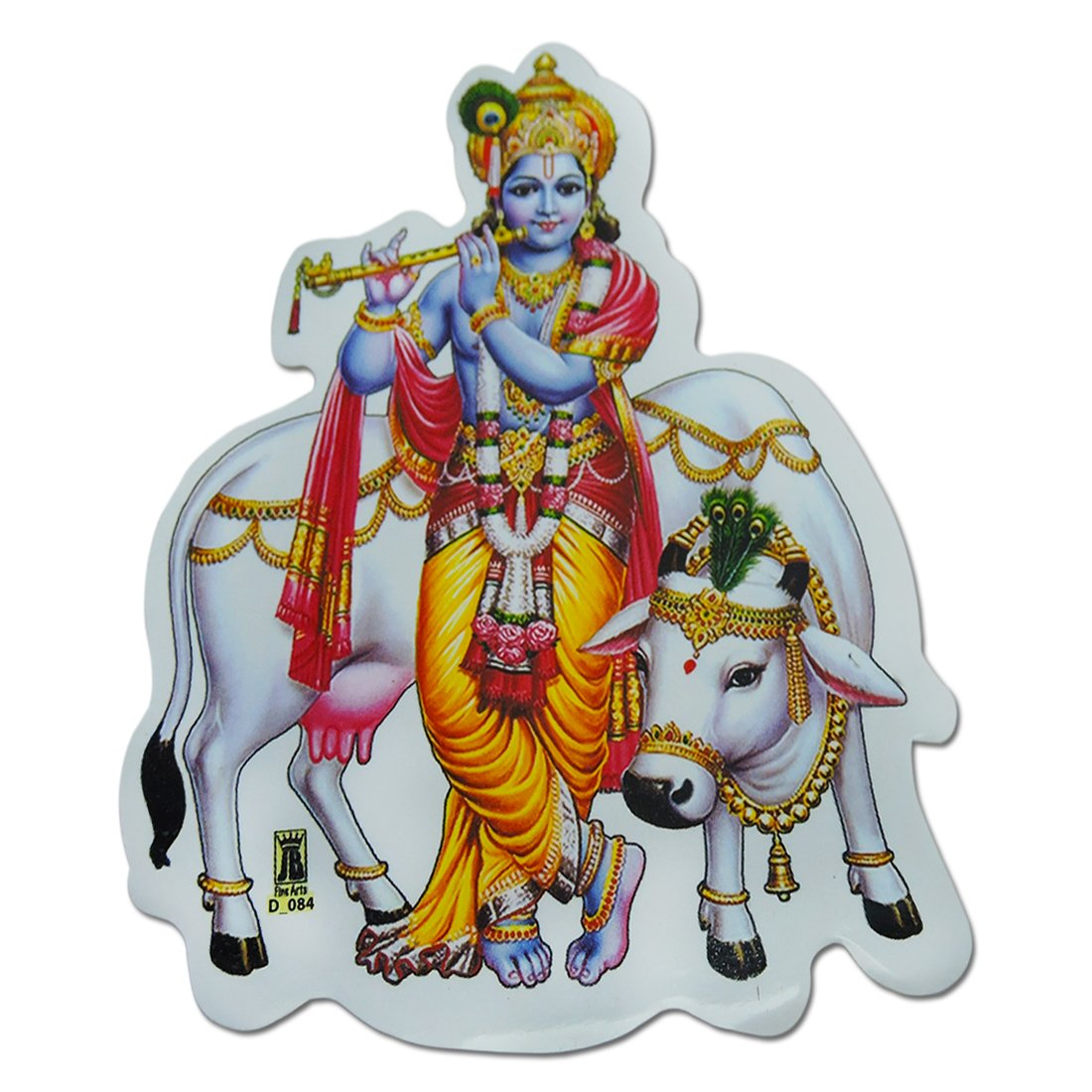 Buy ratnatraya lord krishna playing flute with cow wall door car bike sticker for spiritual protection online at low prices in india amazon in