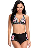 LANFEI Women's Halter Swimsuit Bikini Floral Print Bathing Suits