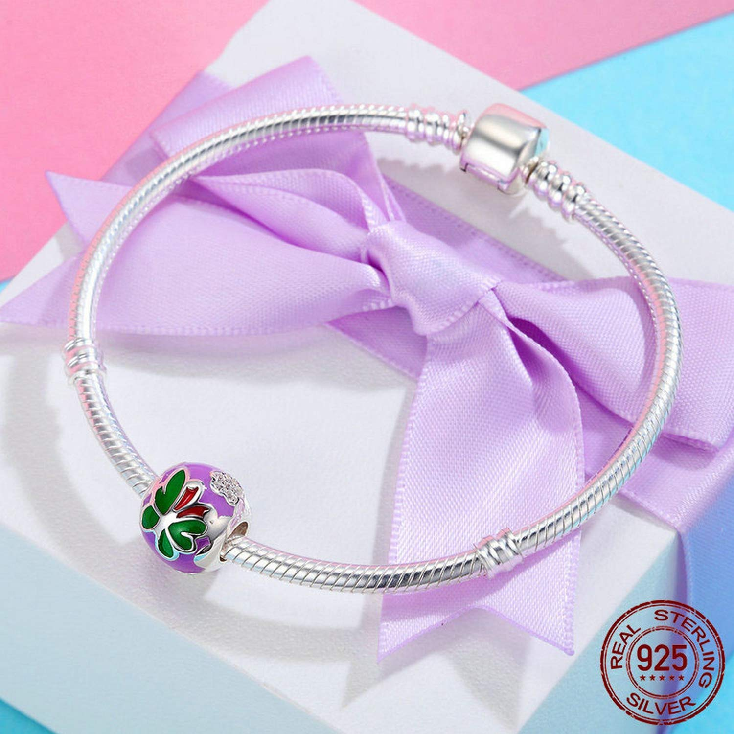 EverReena Green Red Purple Colorful Butterfly Charm Silver Beads Bracelets