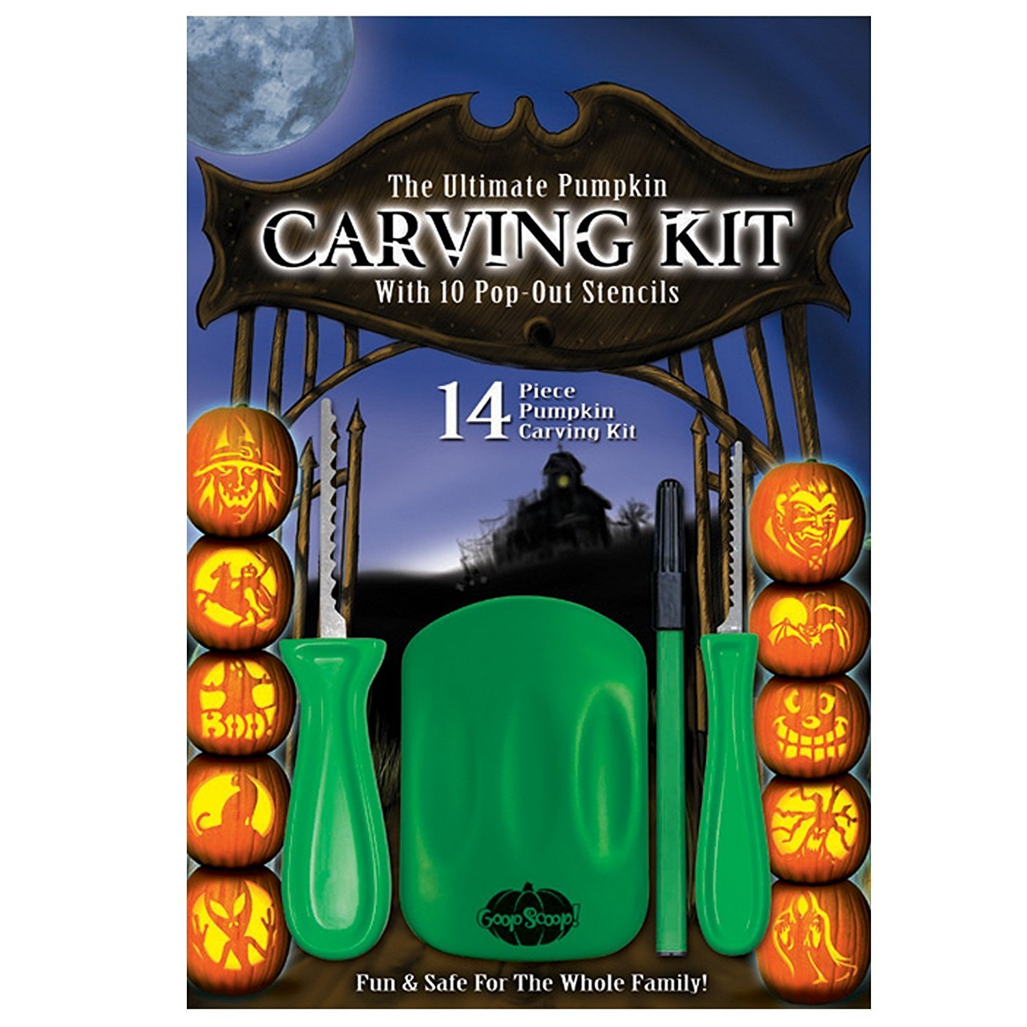 The Ultimate Pumpkin Carving Kit with 10 Pop-Out Stencils 3 Pack