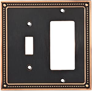 Franklin Brass W35063-VBC-C Classic Beaded Switch/Decorator Wall Plate / Switch Plate / Cover, Bronze with Copper Highlights