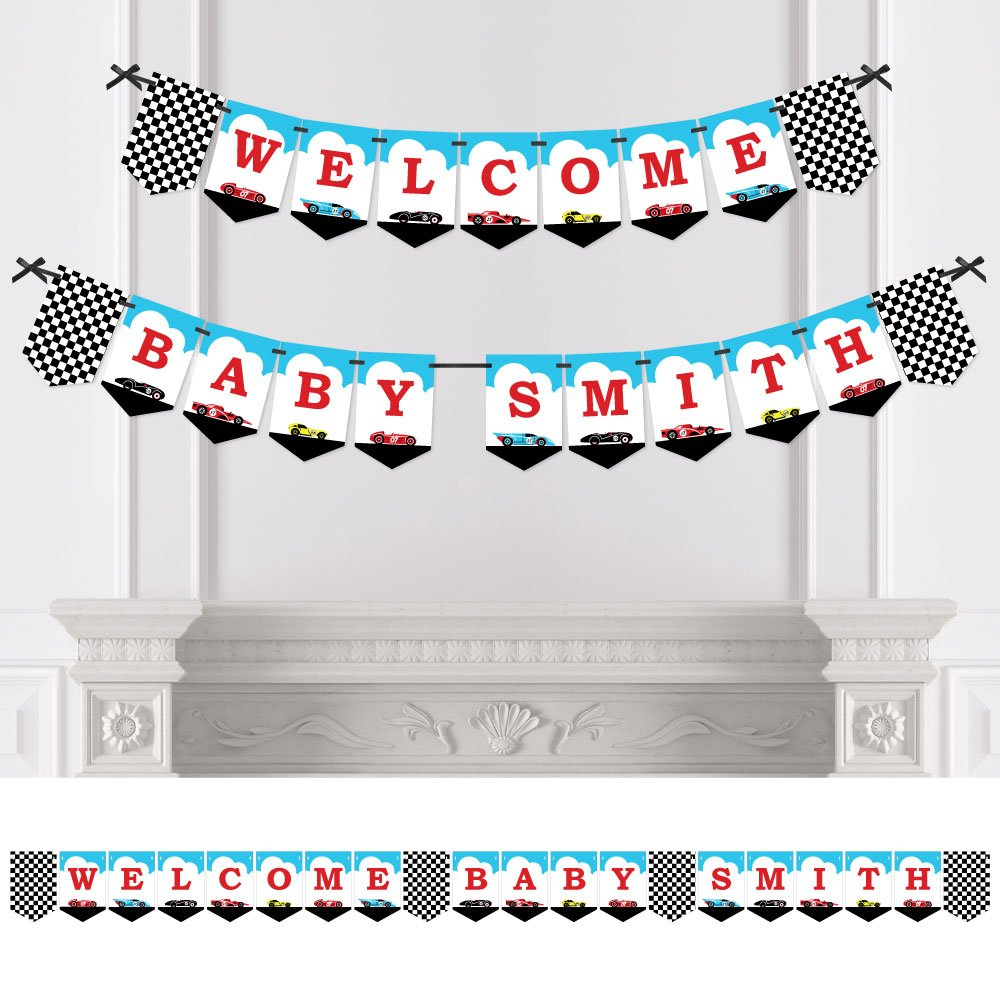 Big Dot of Happiness Personalized Let's Go Racing - Racecar - Custom Race Car Baby Shower Bunting Banner & Decorations - Welcome Baby Custom Name Banner