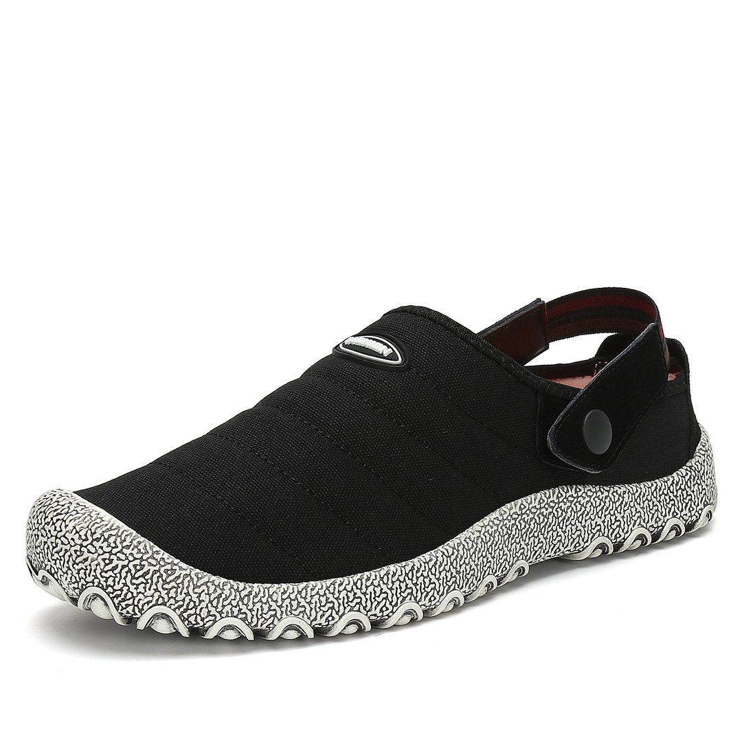 Maniamixx Unisex Clogs Casual Canvas Slippers Slip-on Outdoor Gardening Shoes Indoor Non-Slip Cloth Shoes with Elastic Band(Black,9.5US Women/8.5US Men/40)