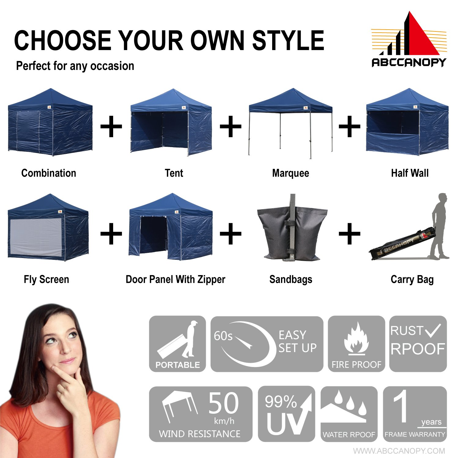AbcCanopy Commercial 10x10 Instant Canopy Craft Display Tent Portable Booth Market Stall with Wheeled Carry Bag & Full Walls , Bonus 4x Weight Bag & 10ft Screen Wall & 10ft Half Wall (NAVY BLUE) by abccanopy (Image #3)